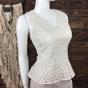 Ann Taylor   Crochet Lace Mesh Peplum Blouse